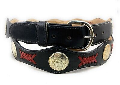 🌟Genuine Black Leather Red Inlay Concho Belt, Western Cowboy Belt MADE IN USA