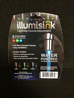 Illumisink LED Lighted Faucet Sink Temperature 3 Color Bathroom Kitchen NEW