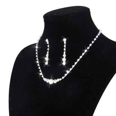 Crystal Necklace & Drop Earrings Wedding Bridal Bridesmaid Prom Jewelry Set