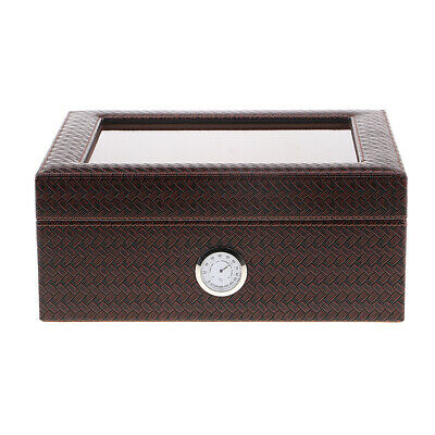 Cedar Wood Travel Cigarette Cigar Storage Humidor Box with Hygrometer Brown