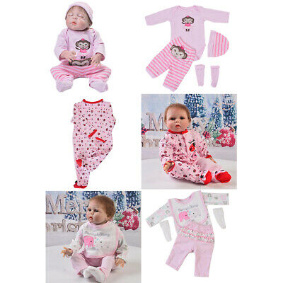 3 Sets Cute Baby Girl Doll Clothes Set for 22-23inch Reborn Doll Accs Gift