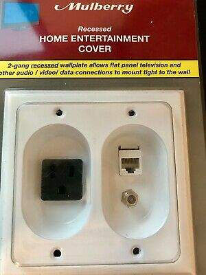 White MULBERRY RECESSED HOME ENTERTAINMENT COVER  40552 Rated 15amps Cat 6