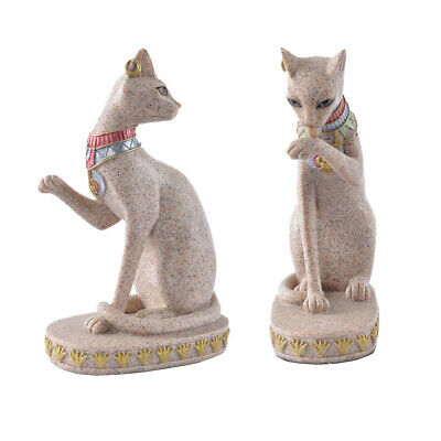 2x Sand Stone Ancient Egyptian Mau Cat Statue Hand Carved Sculpture Figurine