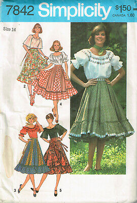 Vtg PATTERN for Miss' PEASANT TOP & RUFFLED SKIRT Size 14 UNCUT Simplicity 7842