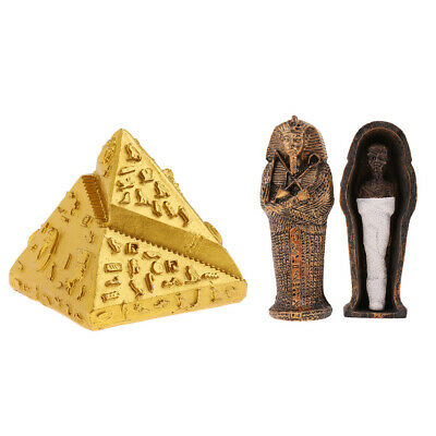 Resin Ancient Egyptian Pyramid Coffin Mummy Figurine for Home Decor Crafts