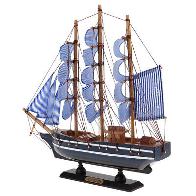 WOOD SAILBOAT Sailing Boat Nautical Decor Ship Model Marine Beach Home #1
