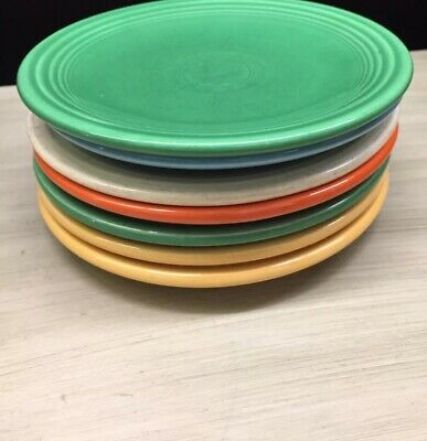 Fiestaware mixed colors Salad Plate Lot of 6 Fiesta 6 1/2 Small Plates USA
