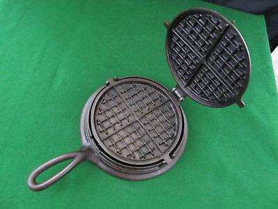 Antique 1800's Cast Iron 8&9 Flip Flop Waffle Iron for Wood Stove Range Top