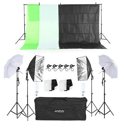 Photo Video Studio Photography Continuous Lighting Kit Backdrop Stand Set P5W2