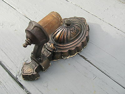 Antique Aesthetic Arts & Crafts Cast Iron Electric Light Wall Sconce