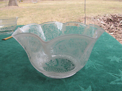 """Antique Victorian Etched Flowers & Frills Glass Shade for Oil or Gas Lamp  4"""" F."""
