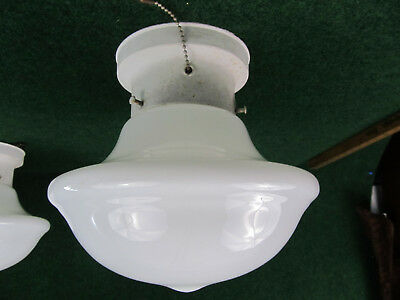 Vintage School Meeting House Electric Ceiling Light Fixture Milk Glass Shade B