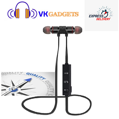 In Ear Headphone Magnet Wireless Bluetooth Earphone Stylish Sports Headset + Mic