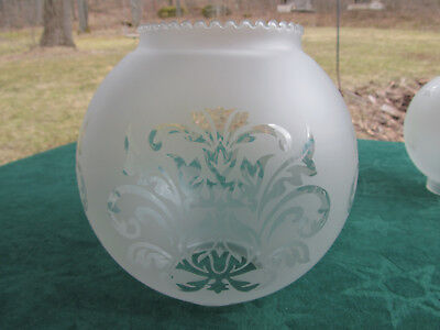 Antique Victorian 1800's Etched Glass Ball Shade for Parlor Banquet Oil Lamp