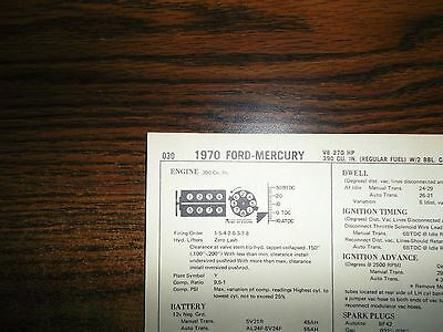 1965 FORD & Mercury EIGHT Series Models 390 CI V8 Tune Up