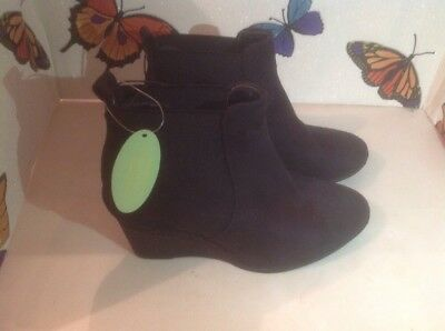 Lovely Ladies Black Wedge Heel Ankle Boots, Size 3 New Shop Clearance