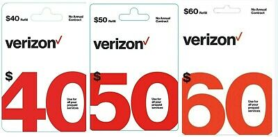 Brand New Verizon $40 $50 60 Wireless Prepaid Refill Phone Card (Email Delivery)