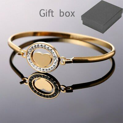 NEW Stainless Steel Gold Heart Crystal Bracelet Cuff Bangle Mother's Day Gift US