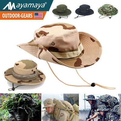 Wide Brim Military Boonie Hat Hunting Fishing Camping Sun Camo Bucket Army Cap