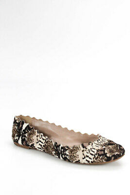 cae0d29a9ccf Chloe Womens Ballet Flats Loafers Animal Print Pony Hair Leather Size 38 8