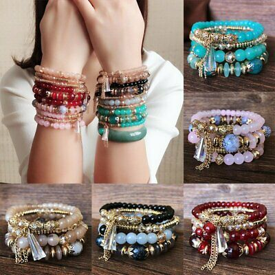 4Pcs Multilayer Natural Stone Bracelet Crystal Beaded Charm Bangle Jewelry Gifts