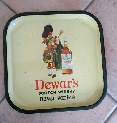 DEWAR'S scotch whisky VINTAGE TIN BAR SERVING TRAY - EARLY DESIGN - NICE ITEM