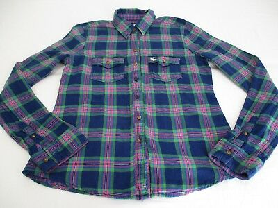Abercrombie & Fitch Blue Green Pink Check Long Sleeve Shirt Uk 10 Brushed Cotton