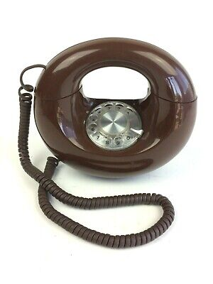 Vintage Brown Western Electric Rotary Sculptura Round Circle Donut Phone