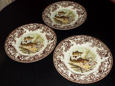 """SET OF 3 Spode Woodland WALLEYE North American Fish 10.75"""" DINNER PLATES New"""
