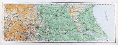 YORKSHIRE, EAST & WEST RIDINGS - 1922, Original Vintage cloth OS MAP