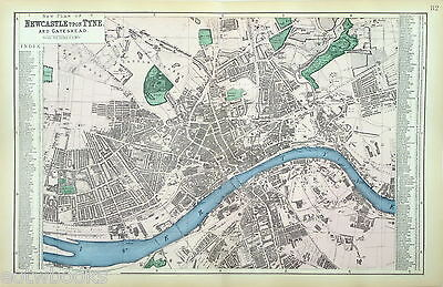 NEWCASTLE -  Antique City Street Plan /  Map - published by Bacon - 1884.
