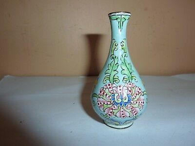 Chinese 7.3 Cm High Long Necked Brass Vase With Enamel Painted Flower/Leaf Decor