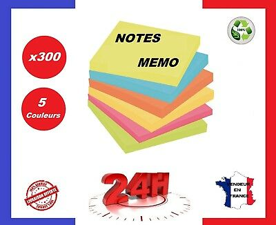 300 STICKERS MEMO STICKY 75X75mm -IT BLOC NOTES POST SHEETS ⭐ 5 COULEURS ⭐