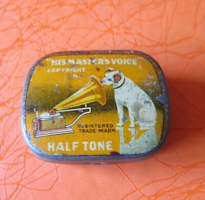 Old Vintage Tin Gramophone Needle Box Case Half Tone His Master Voice Empty