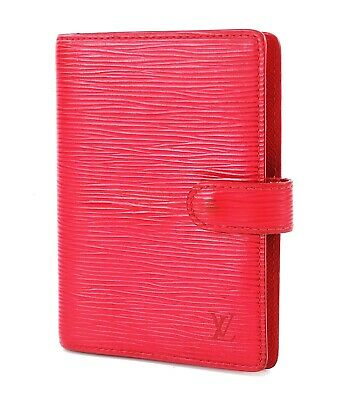 Authentic LOUIS VUITTON Red Epi 6 Ring Agenda Lea Address Book Cover #32038A