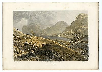 1859 Print Lake District BUTTERMERE Lake and Village Cumbria J B PYNE Antique