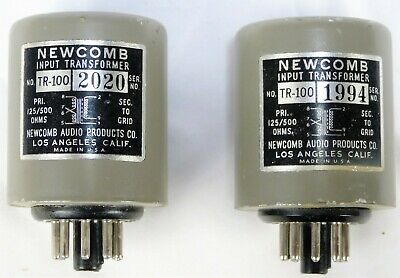 (2) NEWCOMB Preamp Input Transformers TR-100 125/500 Ohms Primary