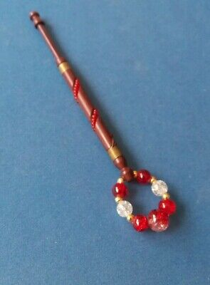 Wood Lace Bobbin with Wire & Red Beads on Shank. Red Spangles.