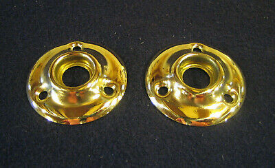 Pair Vintage Round Polished Brass Door Escutcheons Rosettes Back Plates -  Nice