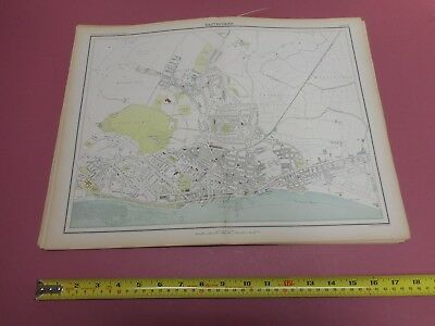 100% Original Large Harrogate Scarborough Map  By Bartholomew C1890 Vgc Railways