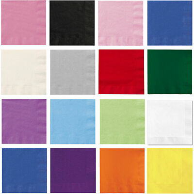 Paper Lunch NAPKINS 33cm Party Tableware Plain Solid Colours Catering Events