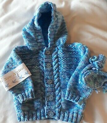 Hand Knitted Boy's Blue Multi Shade Hoody Cardigan &Mittens  To Fit From 3Months