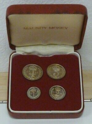 George V 1918 WWI Maundy Set Uncirculated Silver 4d, 3d, 2d & 1d S4016 In Box