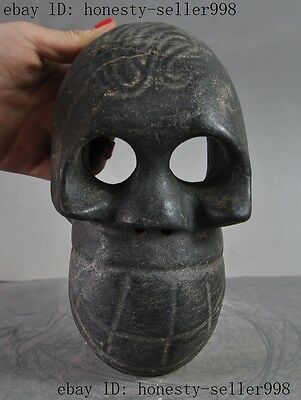 """8""""collect Chinese Hongshan Culture Old jade Carved skull Skeletons head statue"""