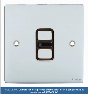 Schneider Screwless Flat Plate 1 Gang 2 Way Elect Ir Dimmer Switch Gu6212Rbpc