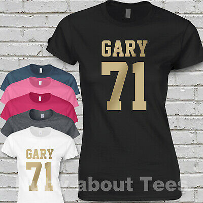 Take That Band Music Tour Ladies Fitted T-shirt gold print  GARY 71 Tee