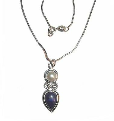 Small Lapis Lazuli And Pearl Pendant On A Sterling Silver Snake Chain