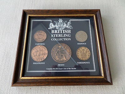 Framed British Sterling Collection Pre-Decimal Coins