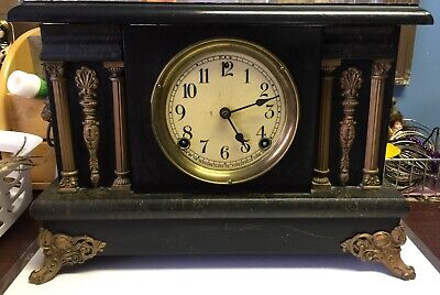 WORKING Vintage Sessions 8 Day Mantle Clock w/ Cathedral Gong Faux Marble w/Key