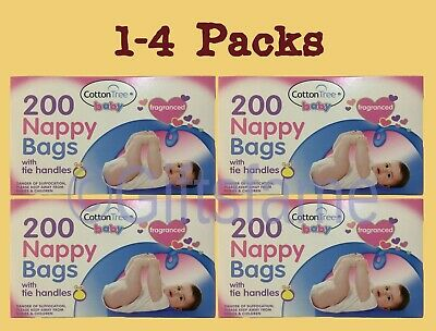 1-4 200 Fragranced Perfumed Disposable Baby Nappy Diaper Changing Bags Sacks Tie